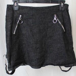 Dark denim mini skirt suspender straps Jawbreaker